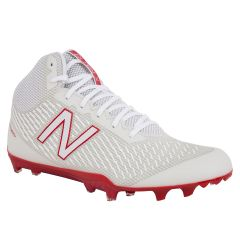 New Balance Burn X Mid-Cut Men's Lacrosse Cleats - White/Red
