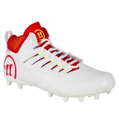 Warrior Third Degree Mid Lacrosse Cleats - White/Red