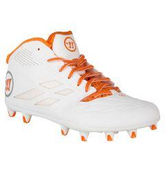 Warrior Burn 8.0 Mid Lacrosse Cleats - White/Orange