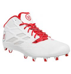 Warrior Burn 8.0 Mid Lacrosse Cleats - White/Red